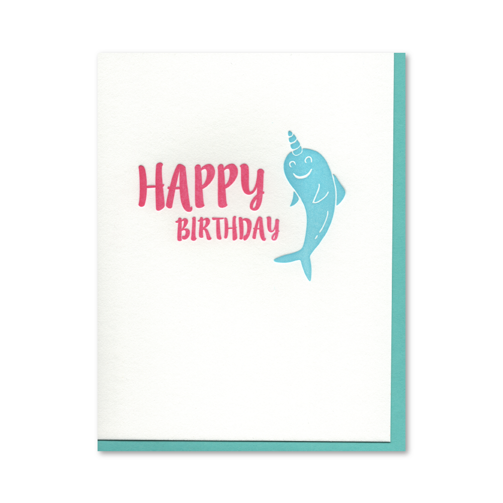 Happy Birthday Narwhal Letterpress Card
