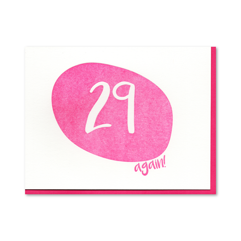 29 again Birthday Letterpress Card