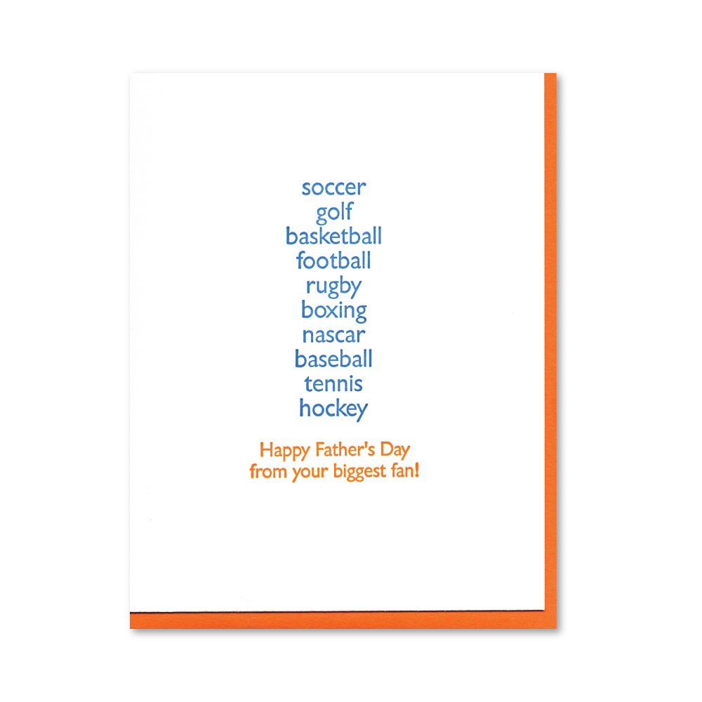 All the Sports Father's Day Letterpress Card