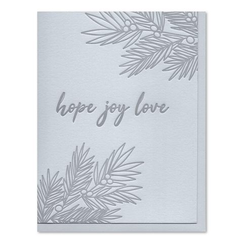 Hope Joy Love Letterpress Card