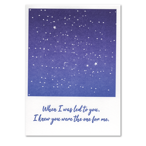 When I was Led to You Night Sky Letterpress Card