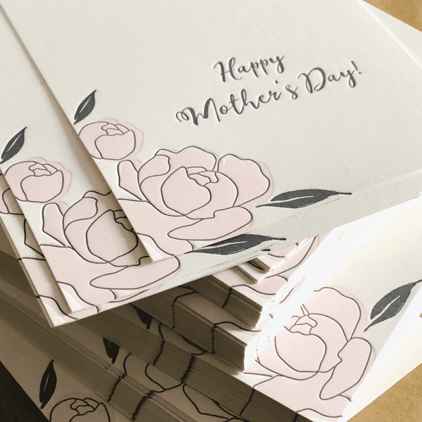 Peony Mother's Day Letterpress Card