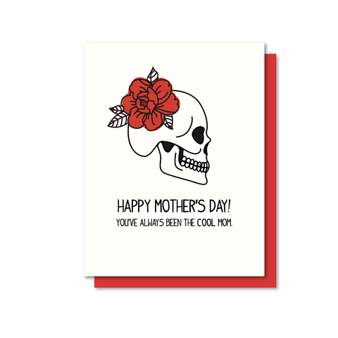 Cool Mom Skull Letterpress Card