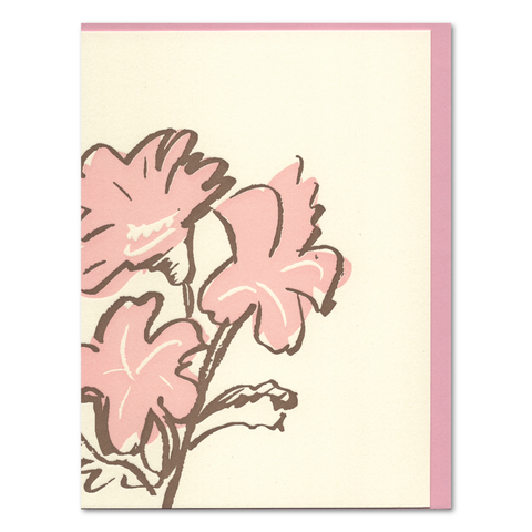 3 Pink Flowers (Set of 6) Letterpress Cards