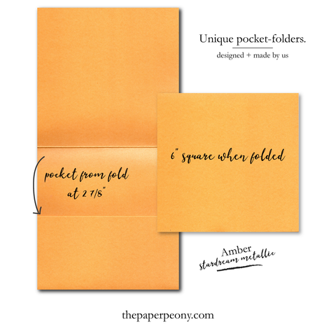 Square Invitation Pocket Folders (set of 25) | Stardream Amber