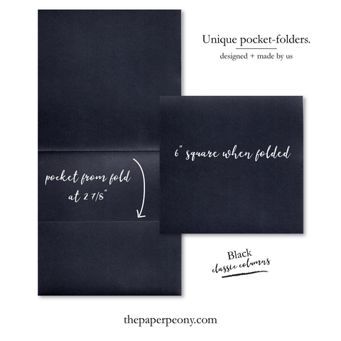Square Invitation Pocket Folders (set of 25) | Black Columns