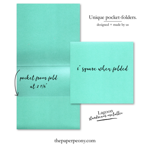 Square Invitation Pocket Folders (set of 25) | Stardream Lagoon