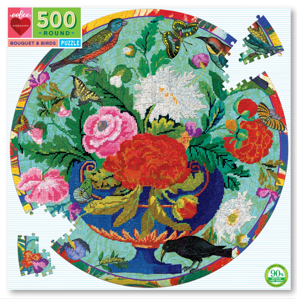 Bouquet & Birds 500 Piece Round Puzzle from eeBoo