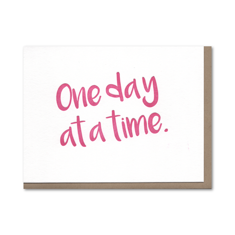 One Day at a Time Recovery Letterpress Card