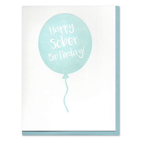 Sober Birthday Balloon Recovery Letterpress Card