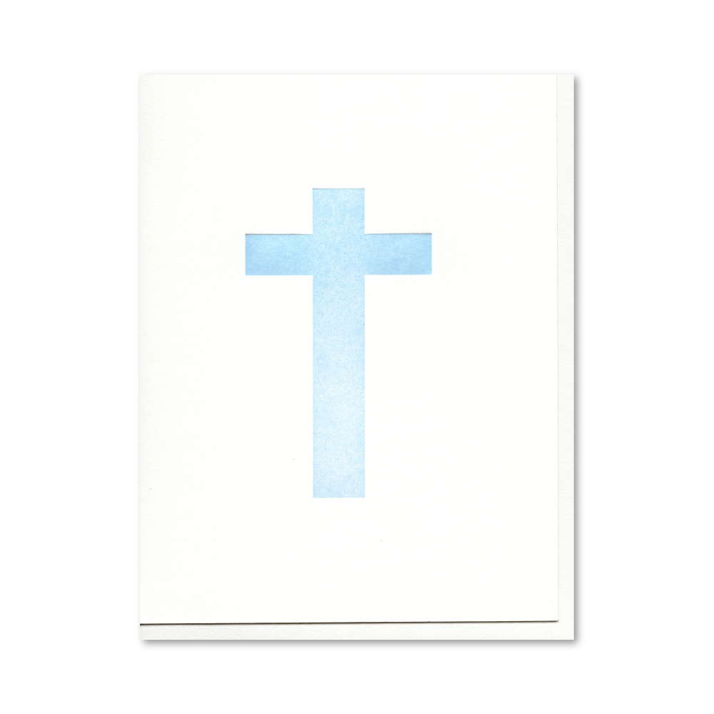 Cross (Blue) Letterpress Card