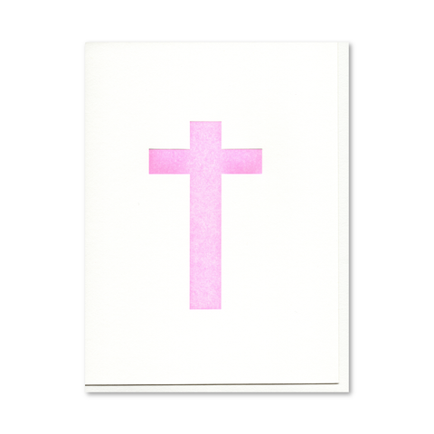 Cross (Pink) Letterpress Card
