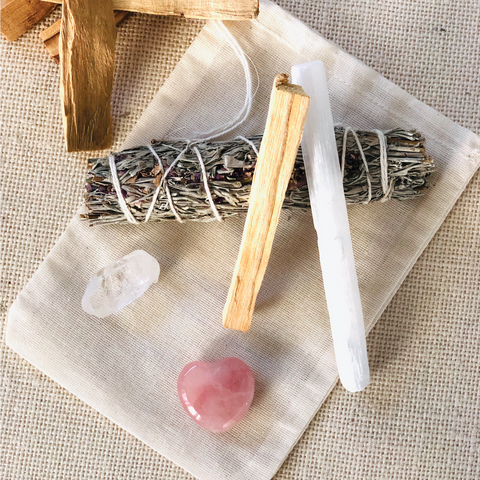 Rose Quartz Sage Smudge Kit
