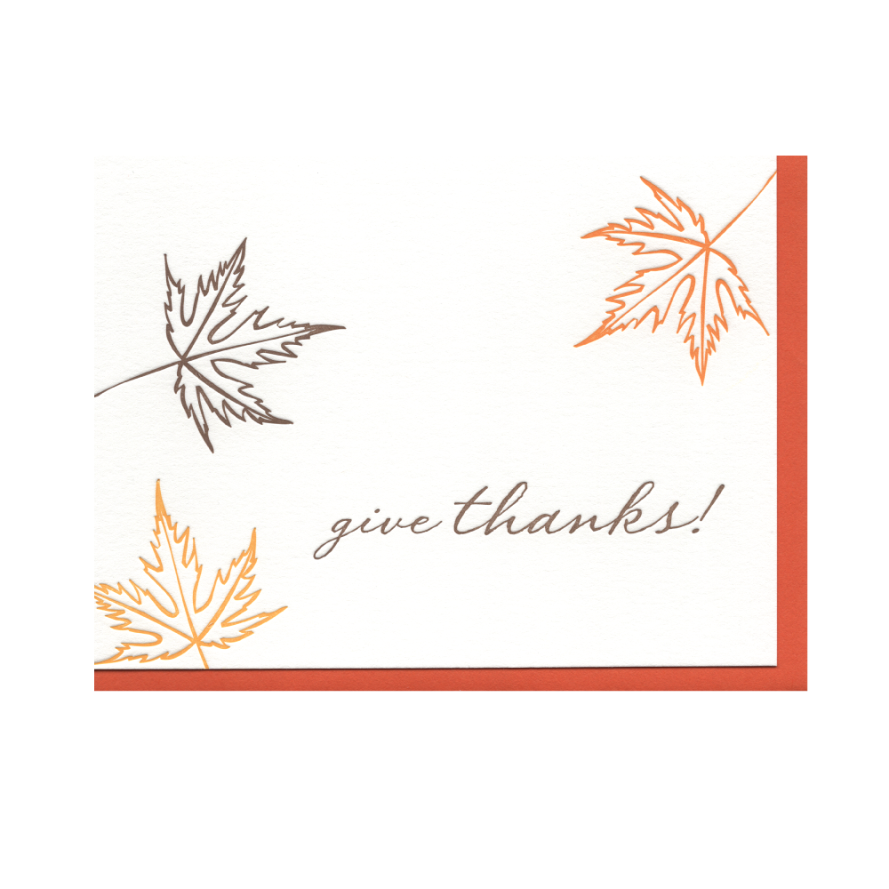 Fall Leaves Give Thanks Letterpress Card