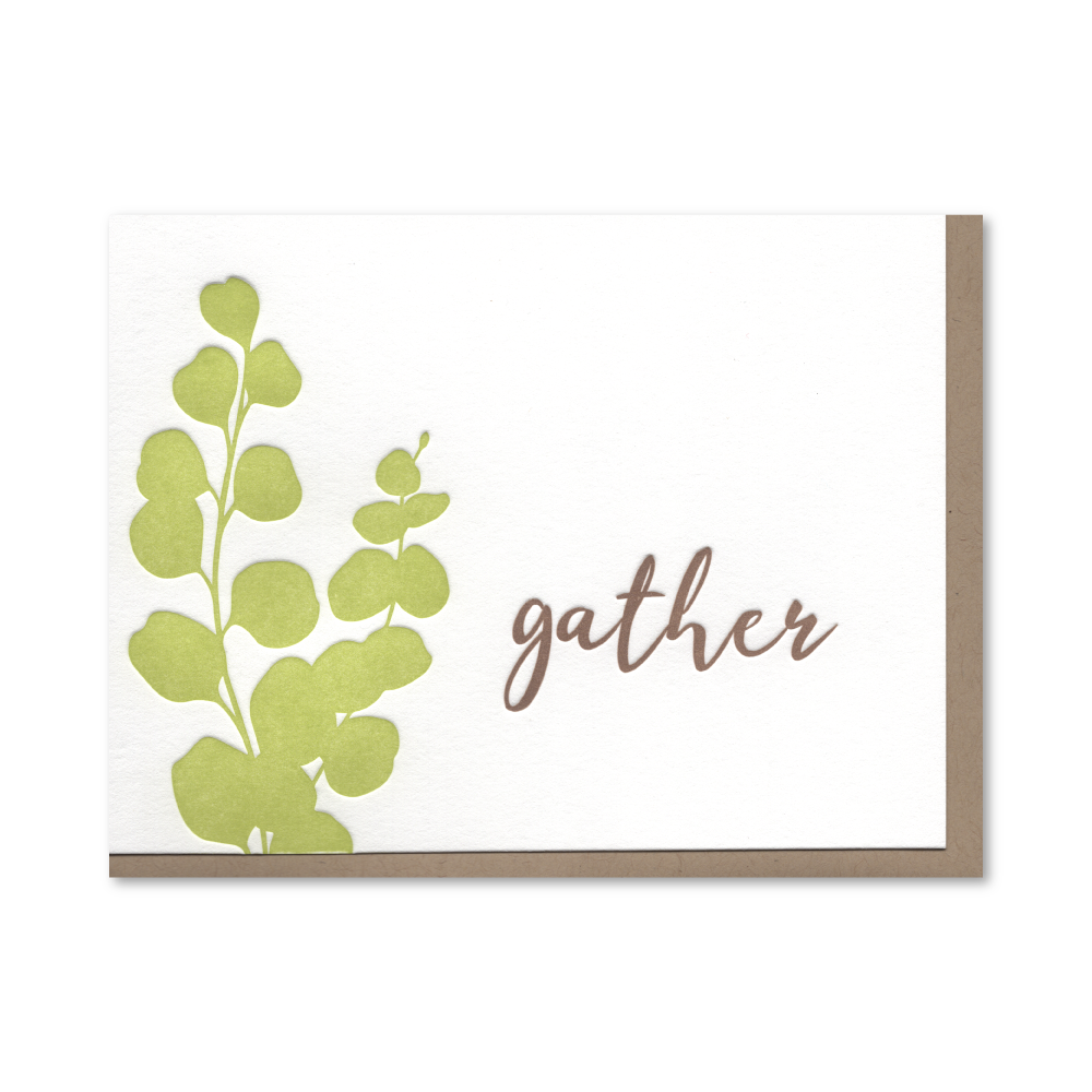 Gather Eucalyptus Letterpress Card