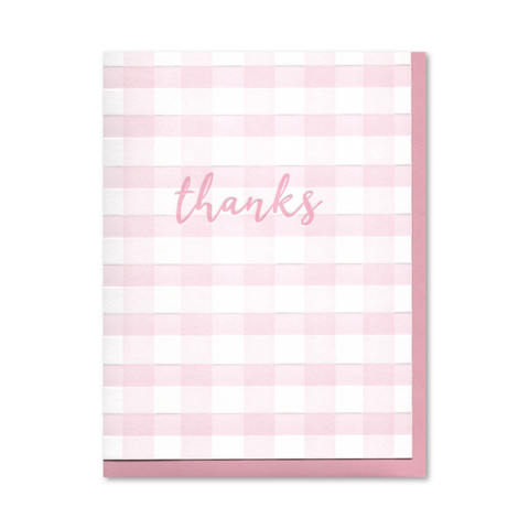 Pink Buffalo Check (Set of 6) Thanks Letterpress Cards