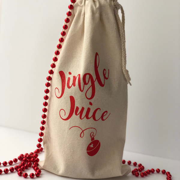 Jingle Juice Cotton Canvas Wine Bag