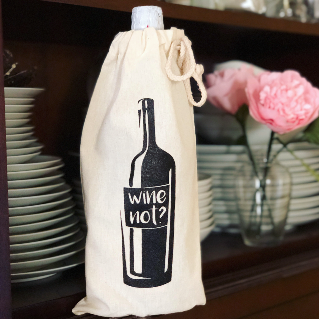 Wine Not? Cotton Canvas Wine Bag