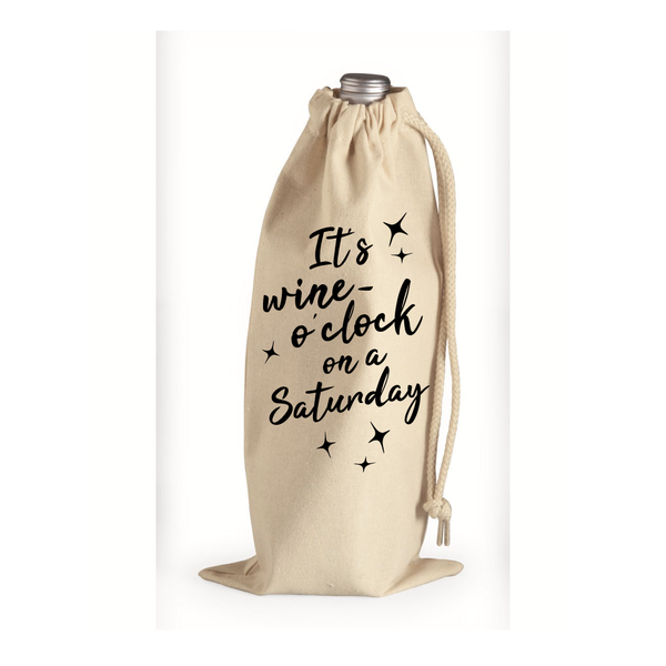 Wine O'Clock Cotton Canvas Wine Bag