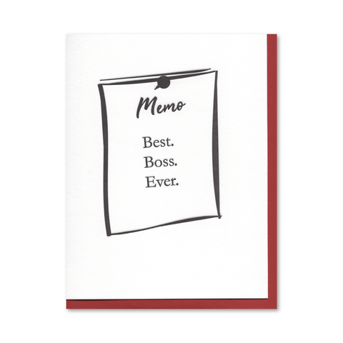 Best Boss Memo Letterpress Card