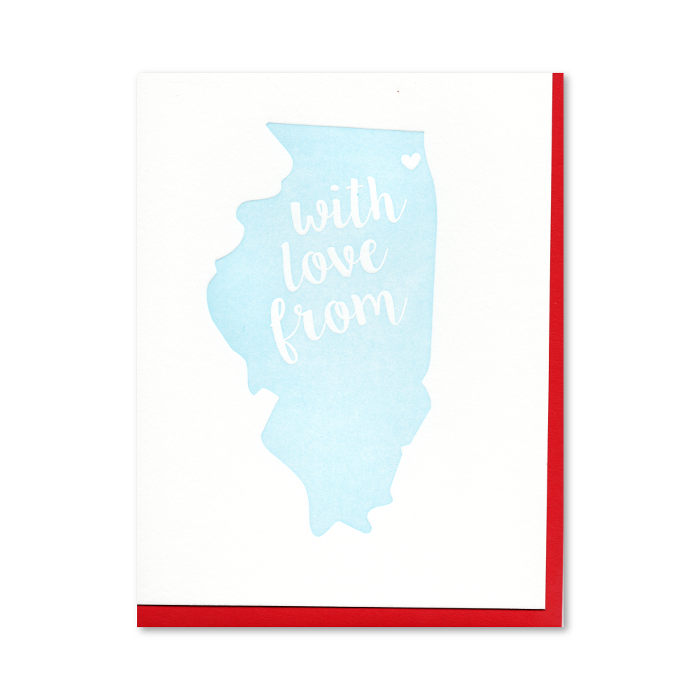 With Love from Illinois /Chicago Letterpress Card
