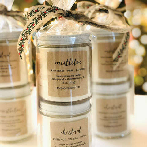 5 oz. Candle Duo: Mistletoe & Chestnut Coconut Soy Candles