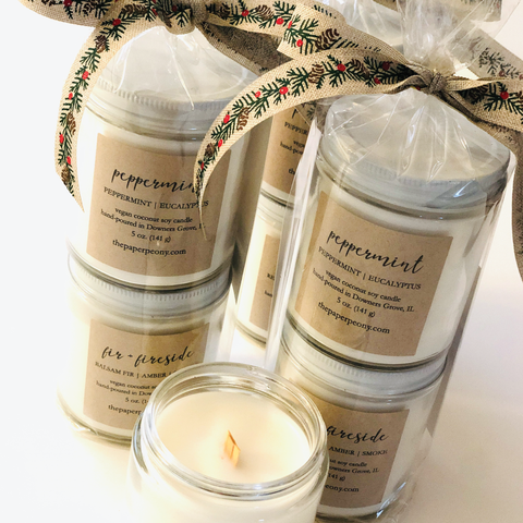 5 oz. Candle Duo: Fir + Fireside & Peppermint Coconut Soy Candles