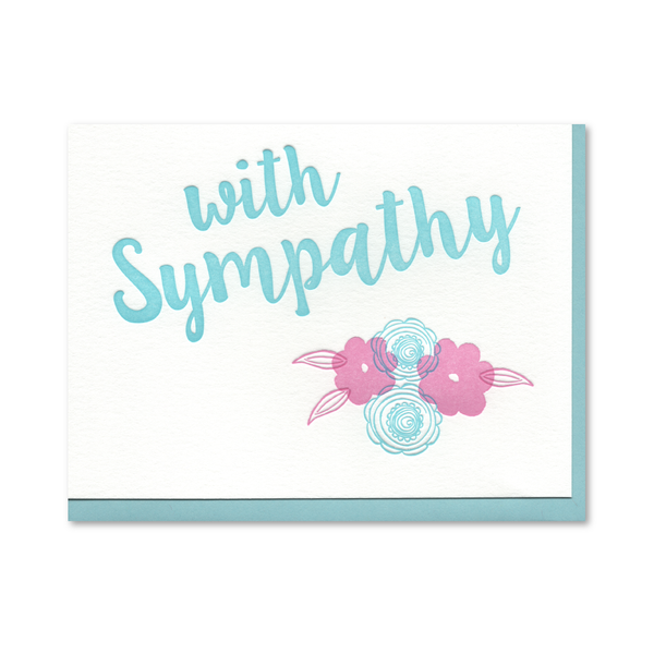 With Sympathy Floral Flourish Letterpress Card