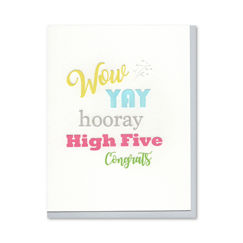 Wow YAY hooray High Five Congrats Letterpress Card