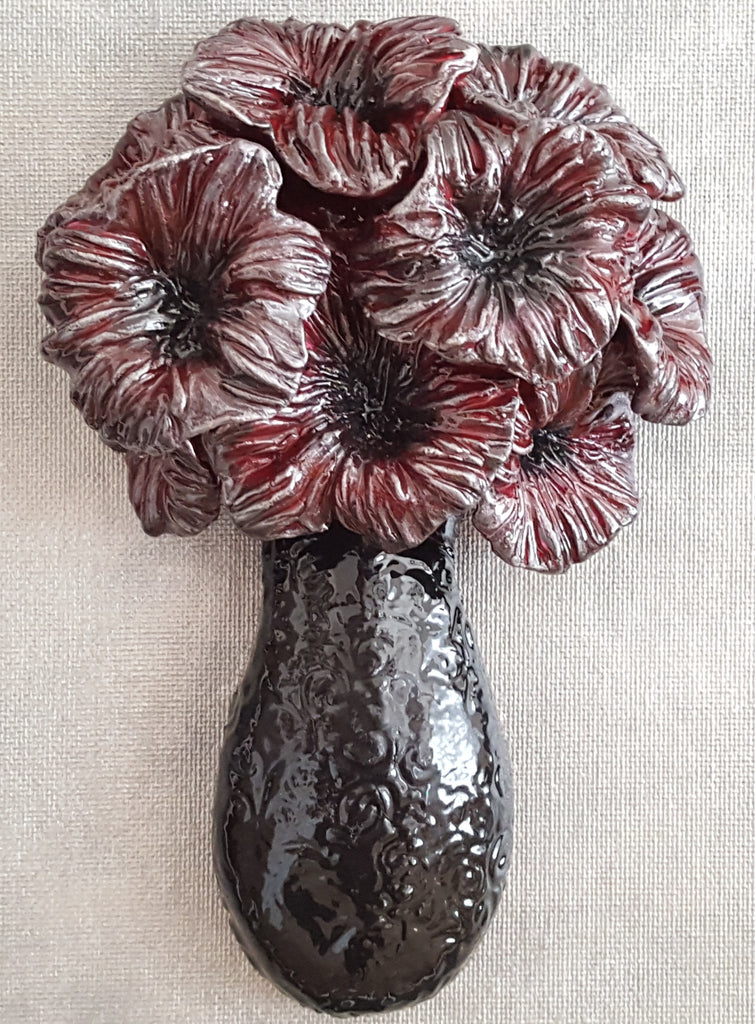 Flower in Black Vase, polymer clay sculpture by Leslie Joy