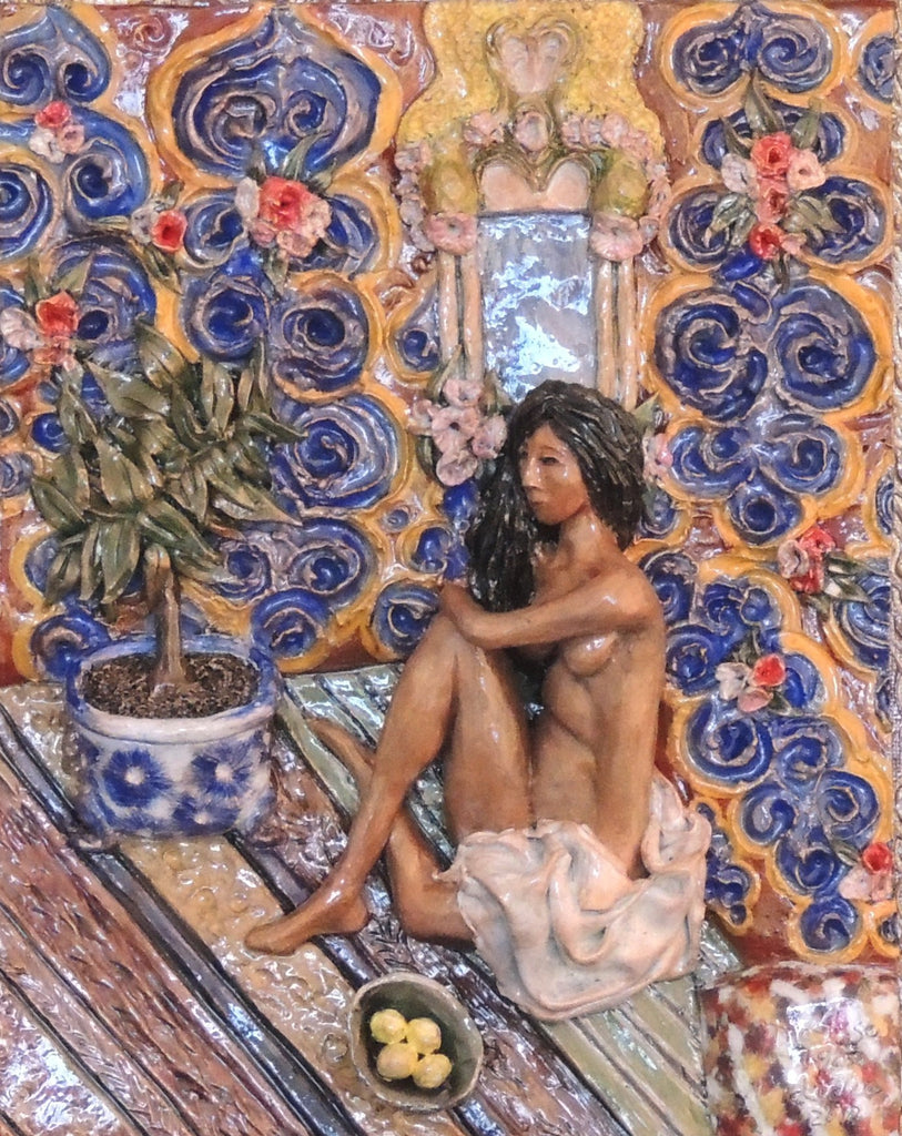 Figure on Decorative Background