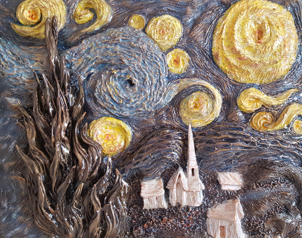 The Starry Night, polymer clay sculpture by Leslie Joy