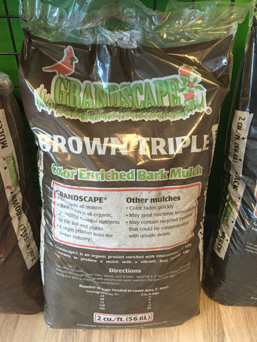 GRANDSCAPE - 100% ORGANIC BARK MULCH - TRIPLE BROWN 2 CF