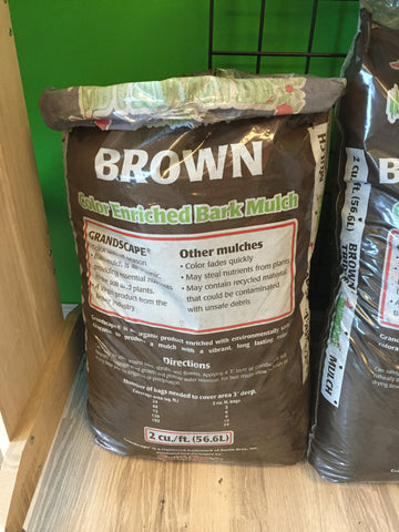 GRANDSCAPE - 100% ORGANIC BARK MULCH - DOUBLE BROWN 2 CF
