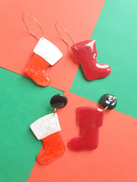 LIMITED EDITION - Santa Booties Dangles/Hoops