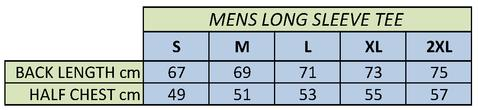 PEAK Men's Comfort Dry Long Sleeve Tee Size Chart