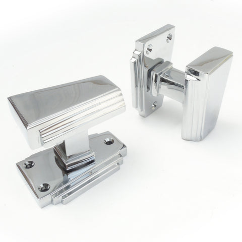 Art Deco Polished Chrome Door Handles