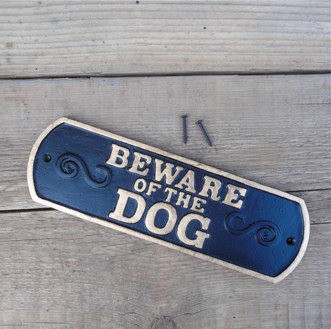 Cast Iron - BEWARE OF THE DOG Sign - Black & Gold