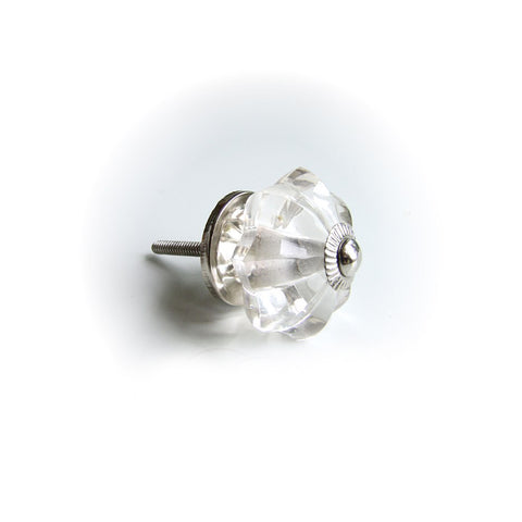 Glass Melon Drawer Knob - Clear Crystal