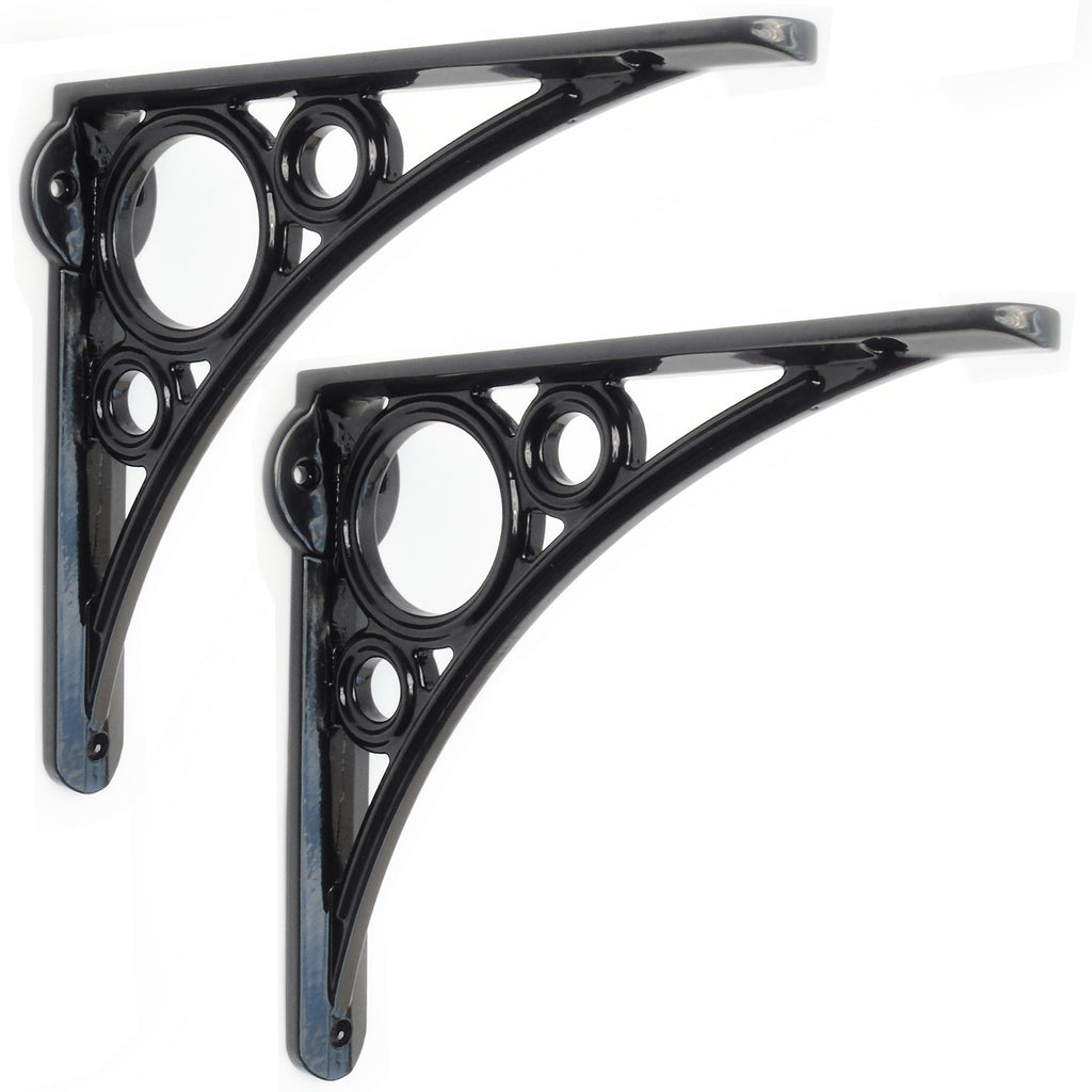 Pair of Industrial Iron Bridge Design Cast Metal Shelf Brackets Black