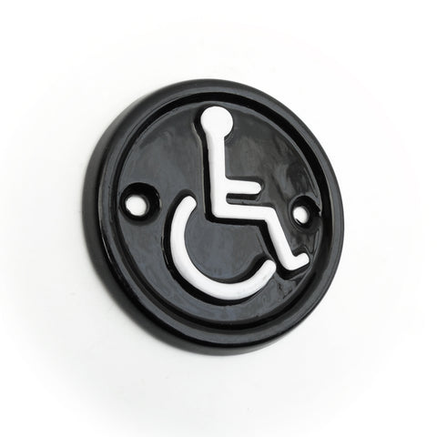 A 'DISABLED' Round Vintage Cast Iron Style Metal Sign Black & White