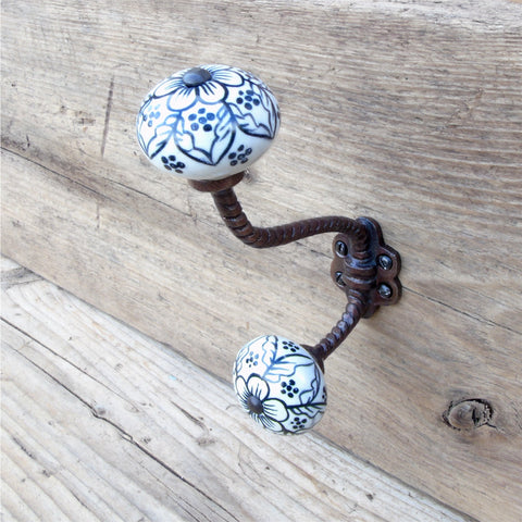 Antique Bronze effect Cast Iron Coat Hook - Hand Painted ends
