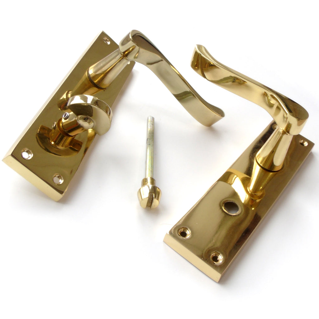 Victorian Polished Brass Scroll Lever Latch Door Handles