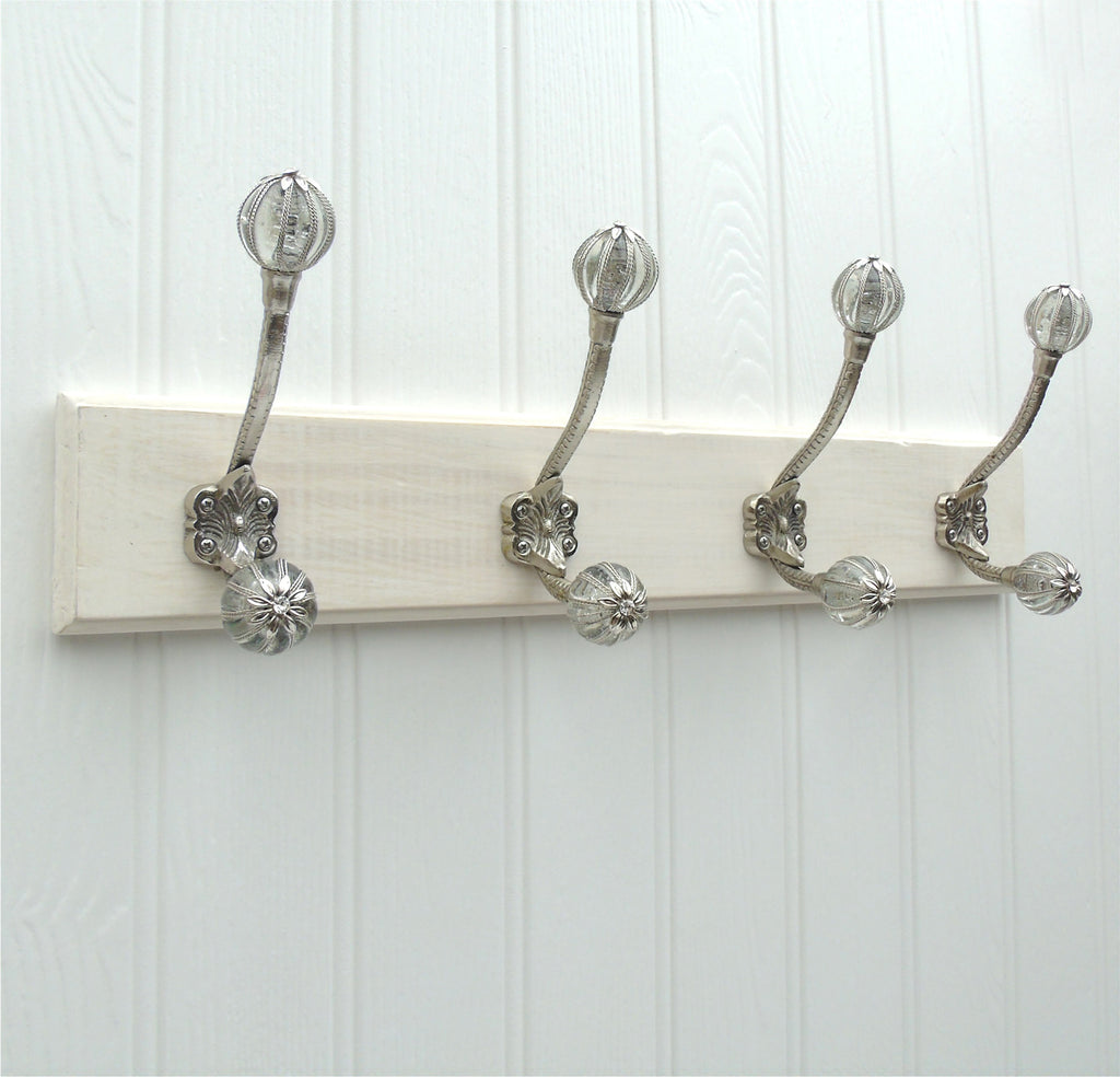 A Vintage Style Wooden Wall Storage Hook Rack with 4 Chrome & Glass Hooks