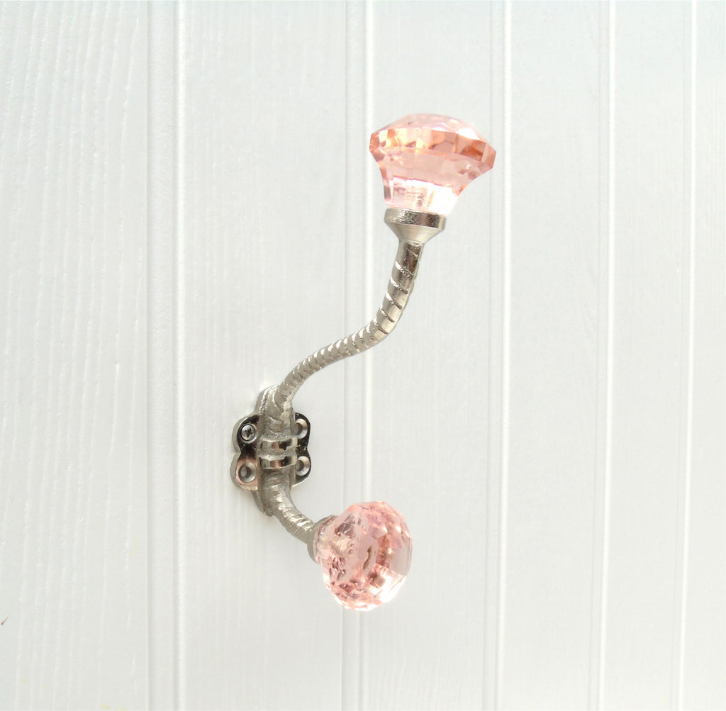 Vintage Style Cast Iron Wall Hook with Pink Glass knobs
