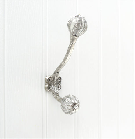 Vintage Style Cast Iron Wall Hook with Silver Twine Clear Glass Ends