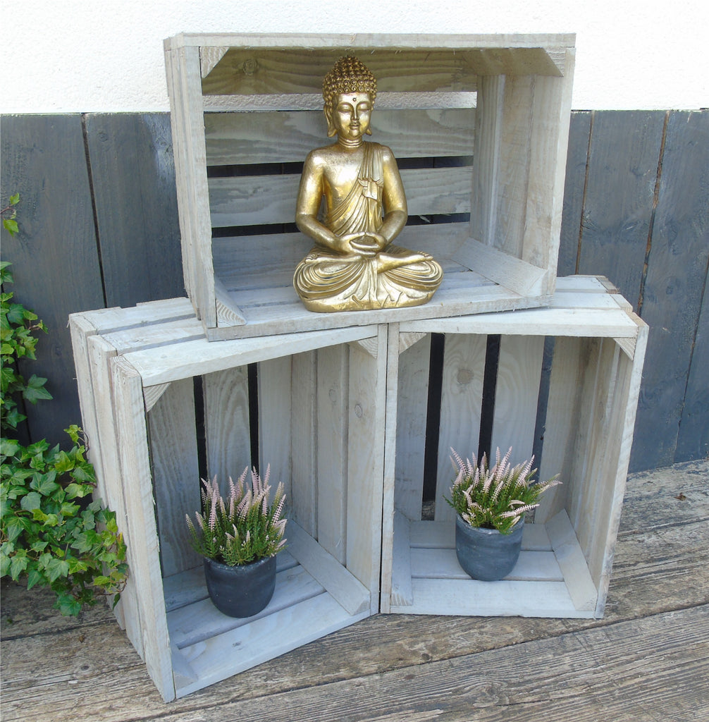 Grey Vintage Style Apple Fruit Crates Bushel Boxes Wooden Garden Planter