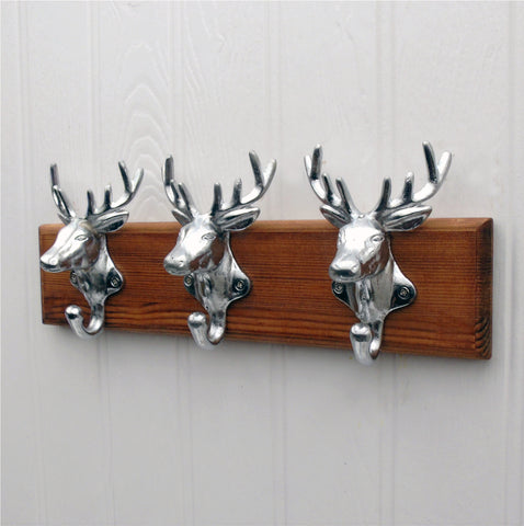 Chrome Stags Heads Coat Rack - Jones & Grey Vintage Antique Style Wooden Wall Mounted Cast Iron Hooks