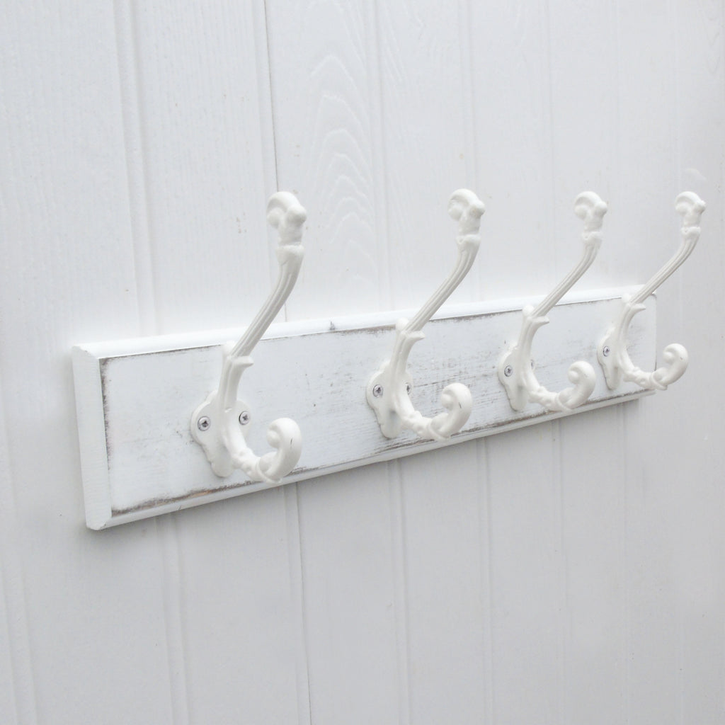 shabby chic distressed white coat rack 4 ornate white cast iron hook jonesandgrey. Black Bedroom Furniture Sets. Home Design Ideas