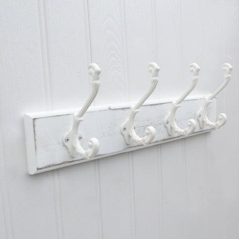 Shabby Chic Distressed White Coat Rack - 4 Ornate White Cast Iron Hooks